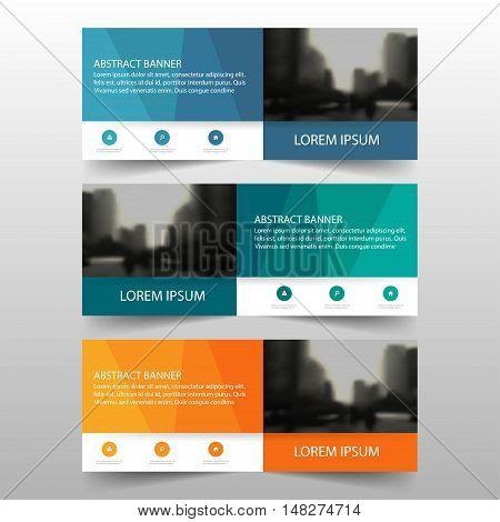 Orange green blue polygonal corporate business banner template horizontal advertising business banner layout template flat design set clean abstract cover header background for website design