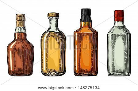 Set bottle for gin rum whiskey tequila. Vector engraved illustration isolated on white vintage background.