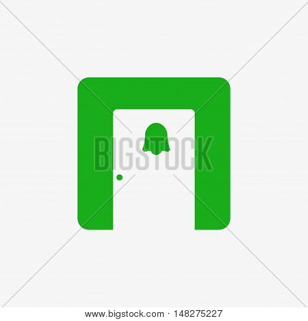 Doorbells in smart home icon. Flat design vector illustration. Isolated on white background