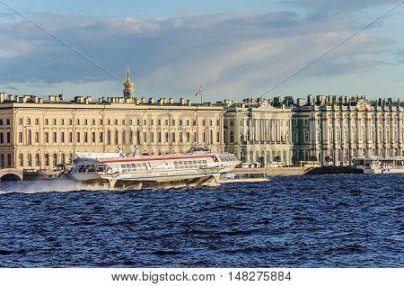 ST. PETERSBURG, RUSSIA - AUGUST 12, 2016: Passenger speedboat hydrofoil