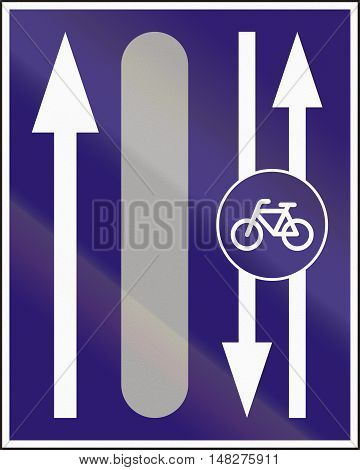 Informatory Hungarian Road Sign - Additional Two-way Bike Road