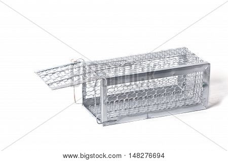 Cage mouse trap isolated on white background
