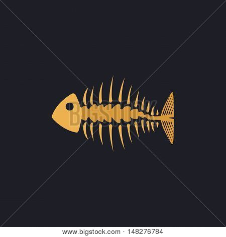 Fishbone Color vector icon on dark background