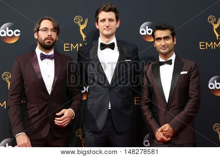 LOS ANGELES - SEP 18:  Martin Starr, Zach Woods, Kumail Nanjiani at the 2016 Primetime Emmy Awards - Arrivals at the Microsoft Theater on September 18, 2016 in Los Angeles, CA