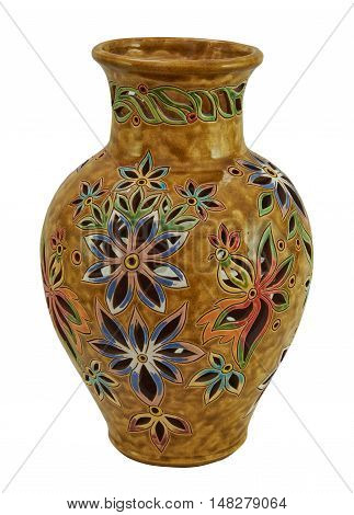 Colorful decorative jug decorated with flowers - handmade pottery clay glazed. Isolated on a white background
