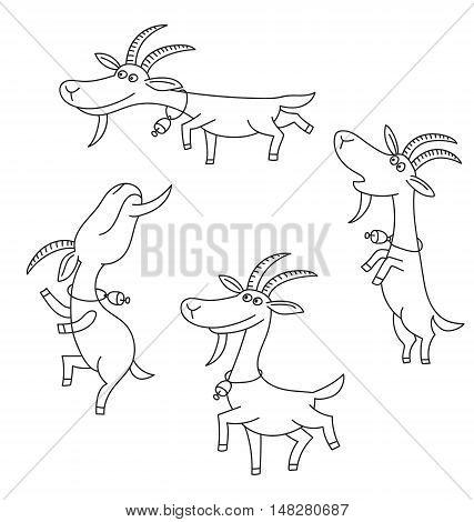 Goat figures on white background. Cartoon goats.