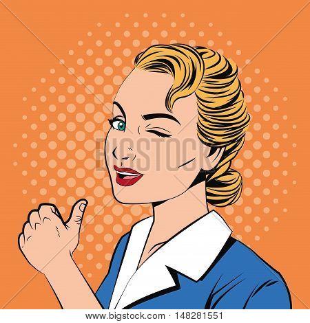Woman cartoon. Pop art comic and retro theme. Colorful design. Vector illustration