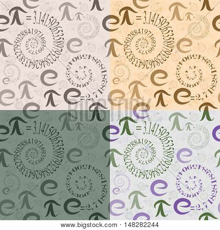 Set of four seamless patterns of colored letters math e and Pi in the form of spirals of eigenvalues on the background of themselves