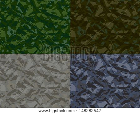 a dim set of four seamless patterns in the form of protective coloring, or colored foil
