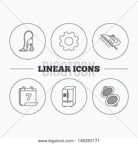 Vacuum cleaner, steam ironing and waffle-iron icons. American style fridge linear sign. Flat cogwheel and calendar symbols. Linear icons in circle buttons. Vector