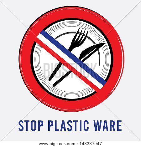vector stop sign, ban plastic dishes, fork, knife, plate