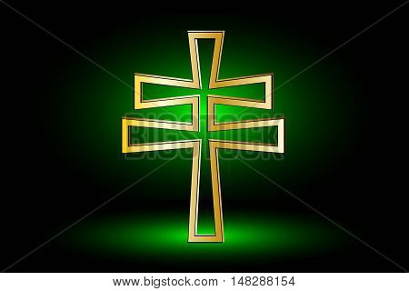 cross on a green background ,double religious cross, Christian double cross