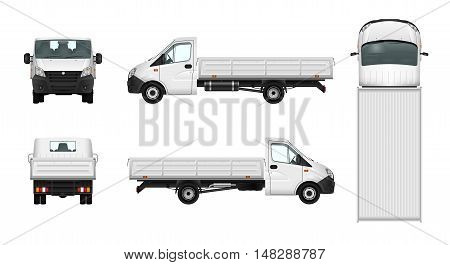 Pickup truck vector illustration. Cargo car template. Delivery vehicle on white background