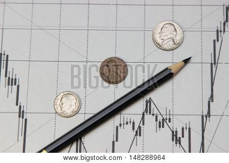 pencil coins and banknotes. Dow Jones index. currency rates on Forex