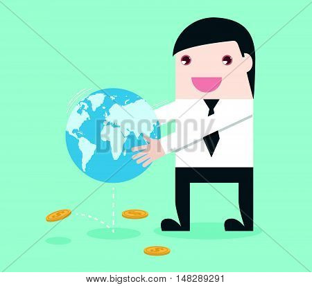 Businessman Shake The World To Make Money