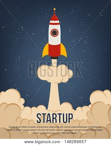 Flying rocket with cloud trail for startup illustration design. Ignition for business investment and reaching goal and result growth.Perfect for innovation and launch to orbit, exploration, development