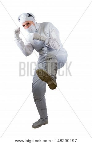 scholar raised his foot to strike against a white background