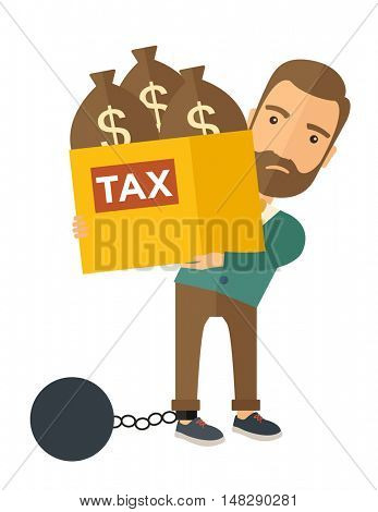 A Caucasian businessman locked in a debt ball in chain for commiting crime in tax ivasion. Debt concept. A Contemporary style. flat design illustration isolated on white background. Vertical layout.