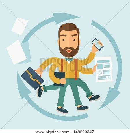 The man with a beard doing a lot of things at the same time. The multitasking concept.  flat design Illustration.