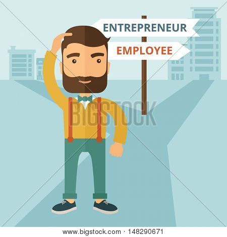 A hipster Caucasian man change career directions employee to entrepreneur street direction a sign of progress a big decision to make in changing direction. Improvement concept. A contemporary style poster