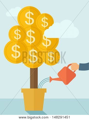 A human hand watering money dollar coin tree to grow bigger. Hardworking concept. A contemporary style with pastel palette soft blue tinted background with desaturated clouds. flat design illustration