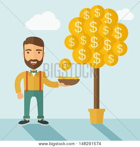 A Caucasian with beard man standing while catching a dollar coin from money tree. Dollar signs growing on branches and falling from tree. A contemporary style with pastel palette soft blue tinted