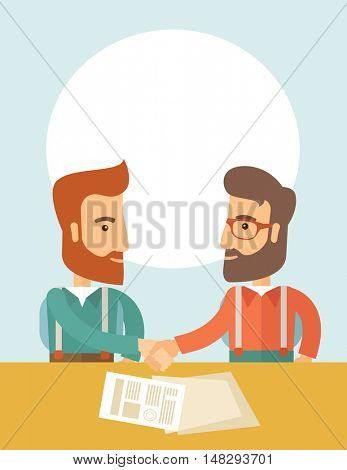 Two successful hipster Caucasian businessmen with beard facing each other handshaking. Hipster businessmen on a meeting signing the agreement with papers on the table. Partnership, leadership concept