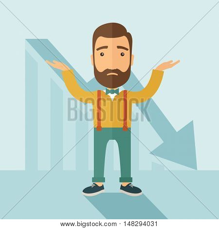 The man with a beard with falling down chart is confused. Bankruptcy concept.  flat design illustration.