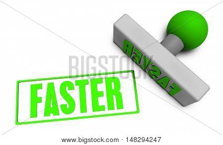 Faster Stamp or Chop on Paper Concept in 3d 3d Illustration Render