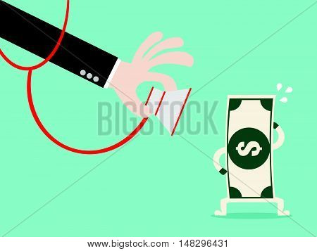 Money Check Up. Financial Health Check. Close Up Hand Use Stethoscope To Check Bank Note Health