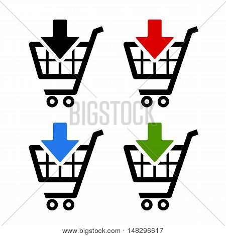 Add to card icons set vector illustration isolated on white background