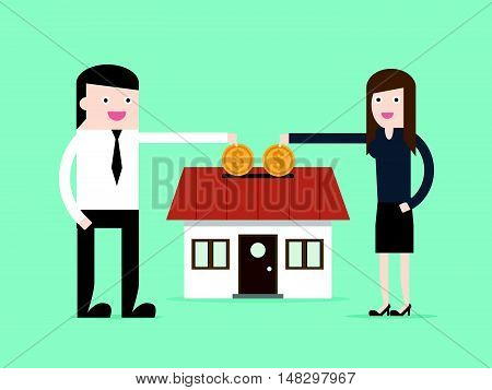Save Money For House Property By Businessman And Woman