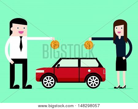 Save Money For Car Asset Property By Businessman And Woman