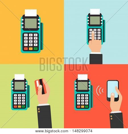 Payment icon set. Human hands holding credit cards smartphone paying with POS. Flat style vector.