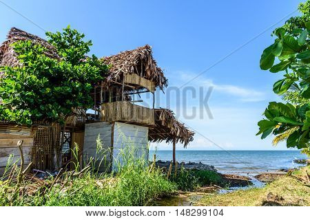 Tropical beachside bar on Caribbean beach, Livingston, Guatemala