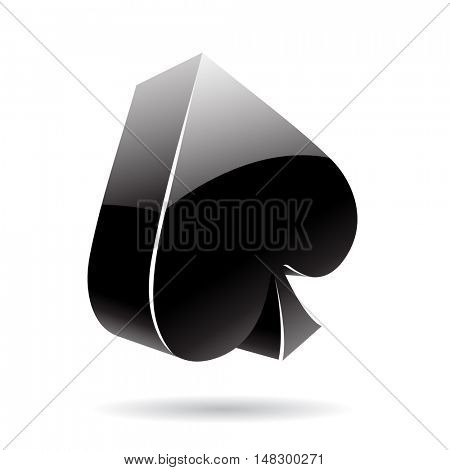 3d suit spades isolated on white