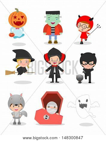 Cute kids wearing Halloween monster costume on white background, Happy Halloween,Halloween Party, child wearing Halloween monster costume, children Halloween, kids Halloween,vector illustration