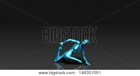 Yoga Class, the Spine Twist Basic Pose Stance 3d Illustration Render