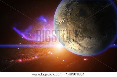 Exoplanet on the background of galactic nebula. Artwork.  Elements of this image are furnished by NASA