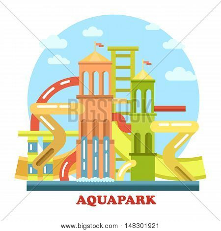 Aquapark outdoor exterior view panorama. Waterpark with pool and pipes for recreation and leisure, holiday swim for fun and amusement. Perfect for playground and modern construction theme