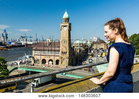 Girl In Front Of The St-pauli Landing Piers In Hamburg