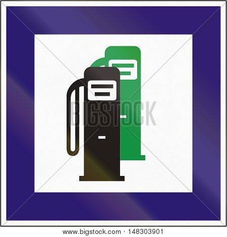 Road Sign Used In Hungary - Petrol Station With Unleaded Petrol