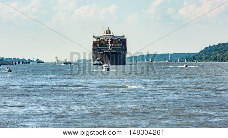 View Of A Ship In The Port Of Hamburg And The Elbe River On
