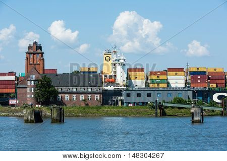 View Of A Ship In The Port Of Hamburg And The Elbe River