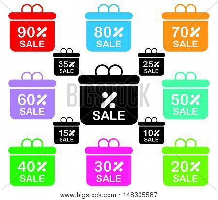 Gift Box Discount Icon With Round Text
