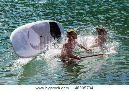 Couple On A Paddleboard In Caumasee, Switzerland