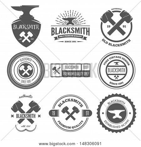 Set of logo, elements and logotypes for blacksmith and shop