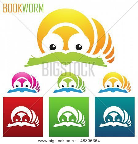 illustration of book worm icons