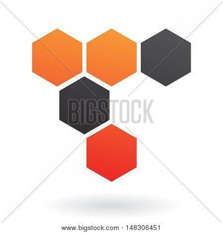Black and orange honeycomb icon and design element