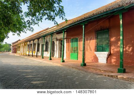 Beautiful colorful colonial architecture in the UNESCO World Heritage town of Mompox Colombia